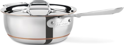 All-Clad 6213 SS Copper Core 5-Ply Bonded Dishwasher Safe Saucier Cookware,  3-Quart, Silver