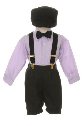 Vintage Dress Suit-Tuxedo Knickers Outfit Set Baby Boys & Toddler, Black-Lavender