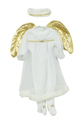 Angel Gown Gold Wings Baby Halo Headband And Button Up Bodysuit Costume 2 Piece