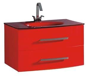 Luxo Marbre Beach 3320 R Beach Vanity With Tempered Glass Sink Red Bathroom Vanities