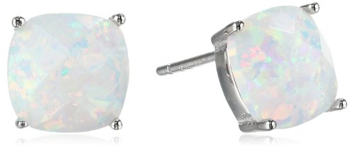 Sterling Silver Checkerboard Cushion Created Opal Stud Earrings