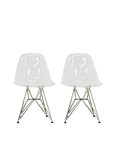 Baxton Studio Set Of 2 Urbana Accent Chairs, Clear