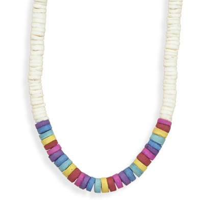 16 Inch Graduated White Shell Rainbow Coco Heishi Bead Fashion Necklace With Barrel Closure Necklace