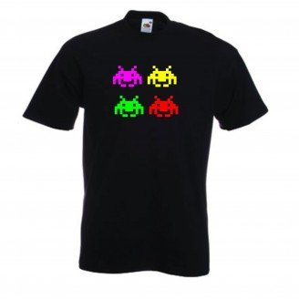 Retro Space Invaders Black Tshirt