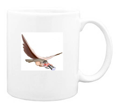 Mug with animal, falcon, cartoons, spy, binoculars, cartoon, eagle