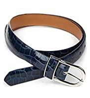 Inlay Buckle Animal Print Belt