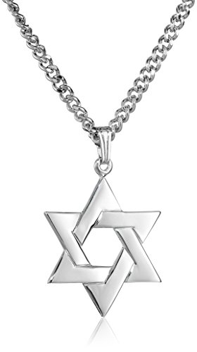 Men's Stainless Steel Necklace with Sterling Silver Star of David Pendant, 24""