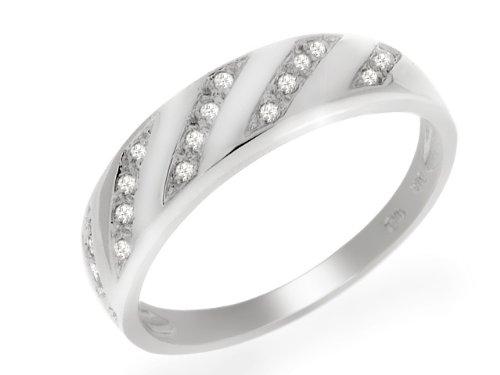 9ct White Gold Diamond Half Eternity Ring Size: 8