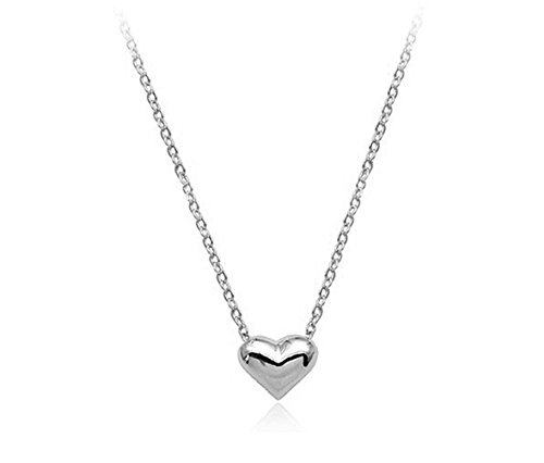 Simple Small Smooth Heart Pendant Necklace Fashion Jewelry For Women (Platinum)