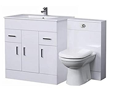 800mm White Minimalist Vanity and 500mm Back to Wall Toilet Pan + Free Tap