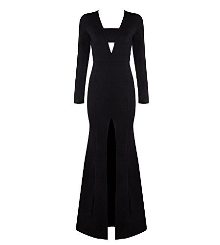 Hego Women's 2016 New Long Sleeve Fishtail Front Split Bodycon Formal Black Gown Maxi Dresses H2370 (S, Black) (Split Front Prom Dress compare prices)