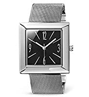 Square Face Mesh Strap Slim Watch