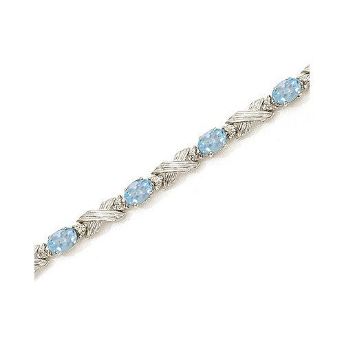 14K White Gold Oval Aquamarine and Diamond Bracelet