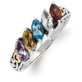Genuine IceCarats Designer Jewelry Gift Sterling Silver & 14K Five-Stone Mother's Ring Mounting Size 10.00