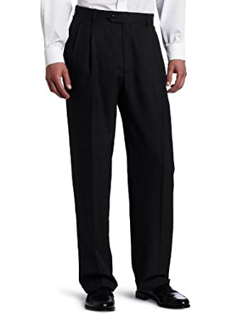 Haggar Men's Grid Plaid Pleat Front Suit Separate Pant, Charcoal, 32/30
