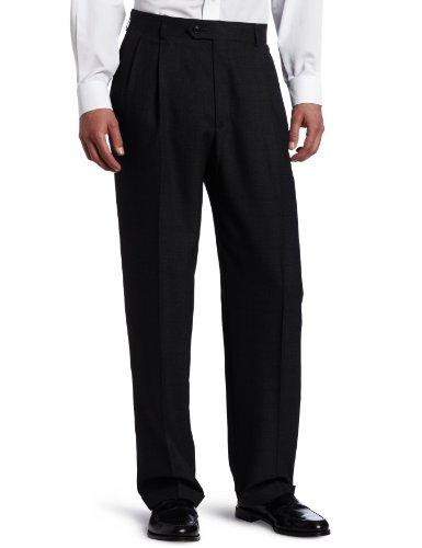 Haggar Men's Grid-Plaid Pleat-Front Suit Separate Pant
