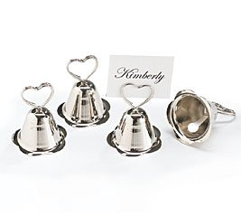 Silver Bell Wedding Place Card Holders-Set of 16