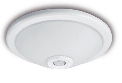 Deckenleuchte mit Bewegungsmelder aus Glas satiniert 230V 2 x 40 Watt E27 auch LED Lampen