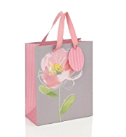 Grey Sketchy Flower Medium Gift Bag