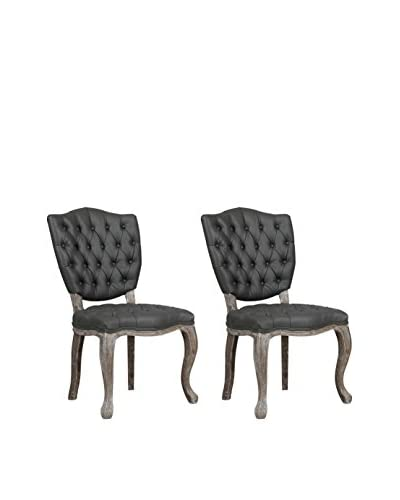 TOV Furniture Amelia Set of 2 Leather Dining Chairs, Grey