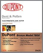 Dupont Pleated Air Filter, Merv 8, Bronze 14X25 (6 Pack)