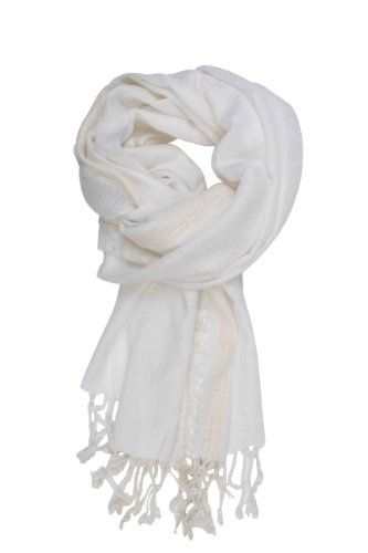 In-Sattva Colors - Decorative Border Scarf Stole Wrap White