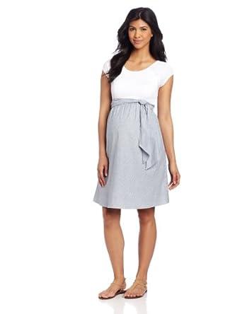 Maternal America Women's Maternity Scoop Neck Front Tie Dress, White/Navy Seersucker, X-Small