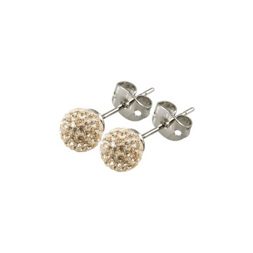 Tresor Paris Cramenil Gold Crystal Earrings 6mm Diametre