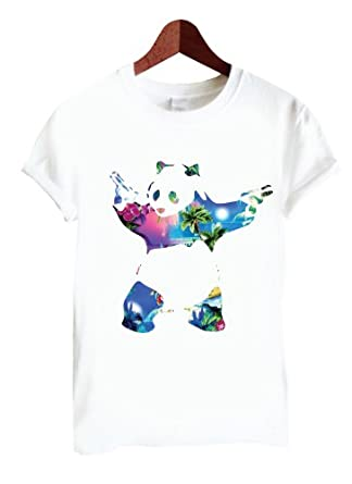 Banksy T Shirt ~ Panda Bear Purple New York White ~Digitally Printed~ Only £5.90 (Small)