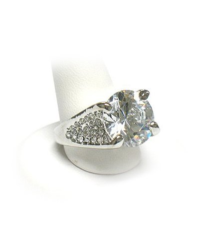 Cubic Zirconia Silver LARGE Stone Ring Jewelry , size7