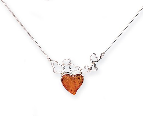 Goldmajor 925 Sterling Silver Amber Heart Shaped Collar and Necklace of 42cm