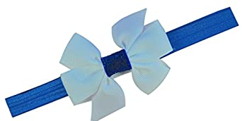Holiday Sparkle Bow Elastic Baby Headband (0-12 Months, Royal Band / White Bow)