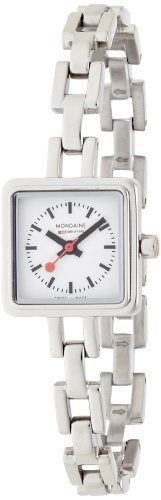 Mondaine Lilly Ladies Watch A666.30339.11SBM with White Square Dial and a Stainless Steel Bracelet