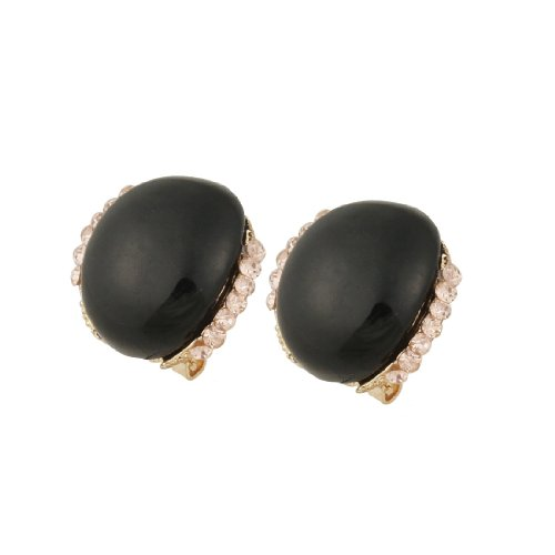 Rosallini Ladies Rhinestone Accent Black Plastic Stone Eardrop Pierced Earrings Pair