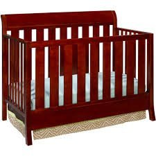 Delta Children'S Products Fifth Avenue Sleigh 4-In-1 Fixed-Side Crib, Cherry Rose