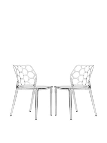 LeisureMod Set of 2 Dynamic Modern Dining Chairs, Clear