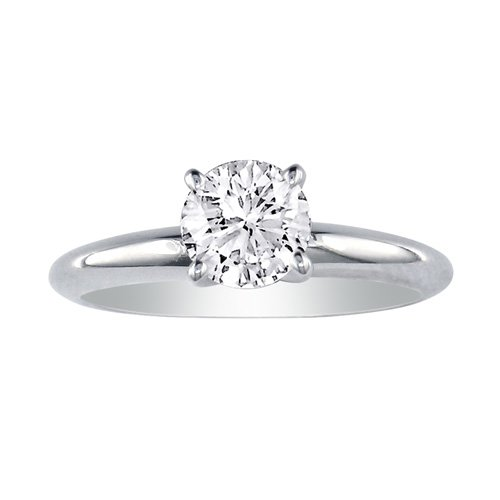 3/4ct Round Diamond Solitaire Engagement Ring in 14K White Gold (Sizes 49.5)