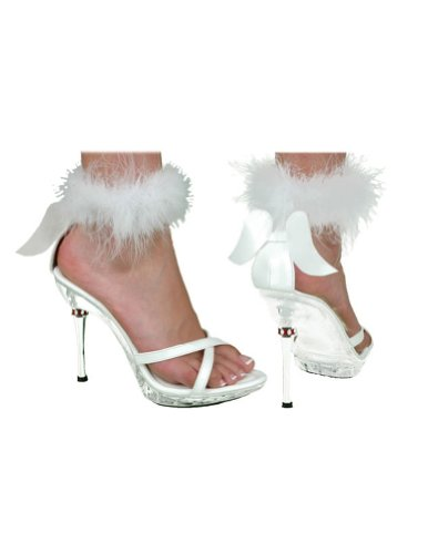 Costume-Footwear Shoe Sexy Angel White Womens Md Halloween Costume - 1 size