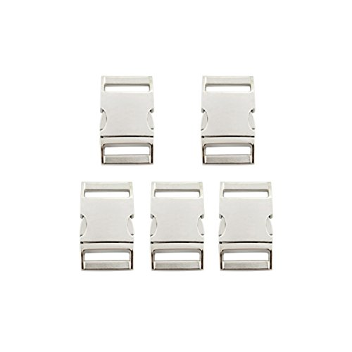Easywisdom 5PCS 1 Inch (25mm) Silver Color Flat Side Release Metal Buckles Clasps for Backpack Belt with Free Cable Organizer (Silver Side Release Buckle compare prices)