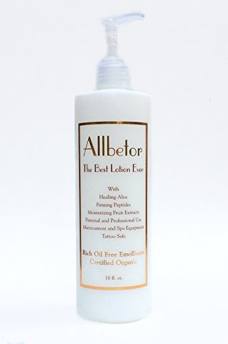 Allbetor - Certified Organic Lotion - Rich Yet Oil Free - Face, Hands, & Body - Use to Lubricate Spa Equipment - Tattoo Safe