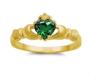 9MM 2ctw 18k-Gold Plated .925 Sterling Silver MAY GREEN EMERALD BIRTHSTONE IRISH ROYAL HEART Claddagh Ring 4-10 (4, .925 FINE ITALIAN STERLING SILVER)