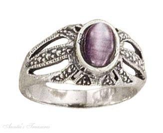 Sterling Silver Oval Purple Cateye Ring Size 5