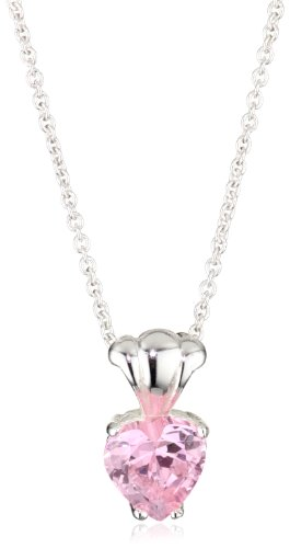 Girl's Sterling Silver Cubic Zirconia Heart Pendant