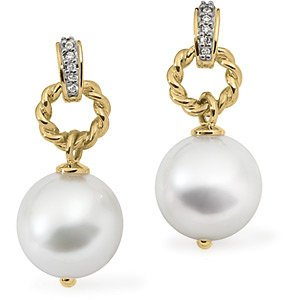 Genuine IceCarats Designer Jewelry Gift 18K Yellow Gold South Sea Cultured Pearl And Diamond Earring. Pair .06Cttw/12.00Mm Near Rd South Sea Cultured Pearl And Diamond Earrings In 18K Yellow Gold