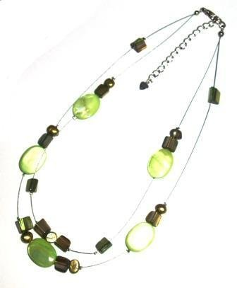 Tribe green oval shell two strand necklace