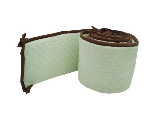 American Baby Company Minky Dot Cradle Bumper with Chocolate Trim, CeleryAmerican Baby Company Minky Dot Cradle Bumper with Chocolate Trim, Celery