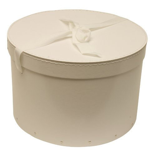 13 x 8 Heavy Duty White (Round) Hat Box with Ribbon - Sold individually