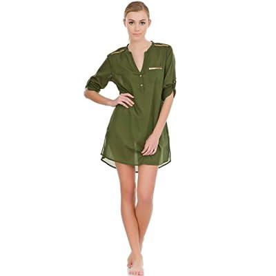 women'secret - Einfarbige Baumwoll-Camisole mit ¾-Arm, Seitentasche und Knopfleiste am Ausschnitt