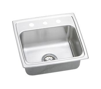 Elkay LR19181 1-Hole Gourmet Lustertone Stainless Steel 19-Inch x 18-Inch Single Basin Top-Mount Kitchen Sink by Elkay