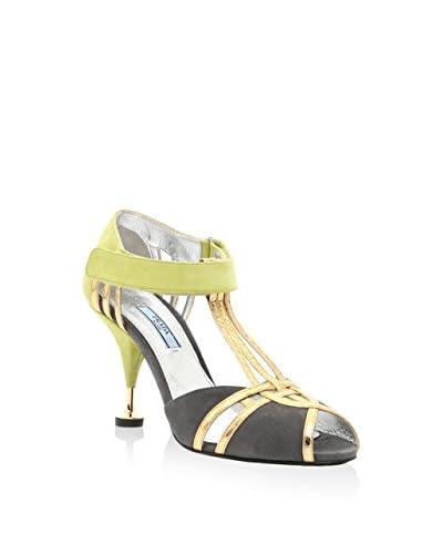 Prada Sandalette hellgrün/gold/dunkelgrau